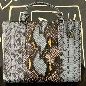 "Coach Blue & Yellow ""Snake Skin"" Leather Bag"